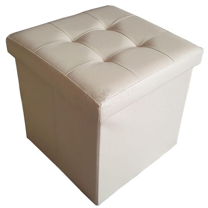 Folding Ottoman Storage Box Footstool Stool Pouf Faux