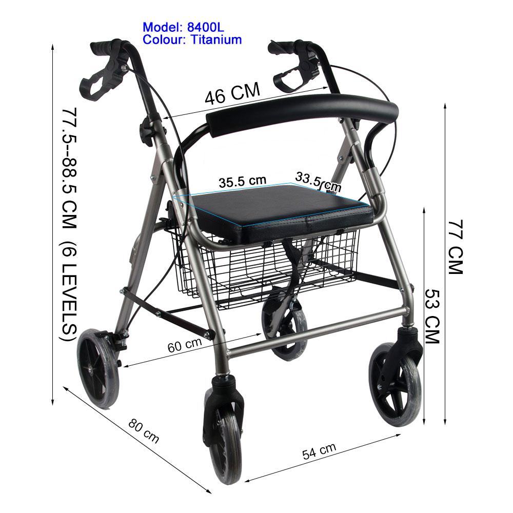 Aluminum Foldable Rollator Walking Frame Outdoor Walker